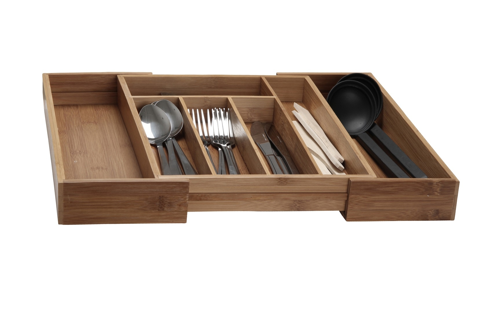 Extendable bamboo cutlery box wood kitchen drawer for Vertical silverware organizer