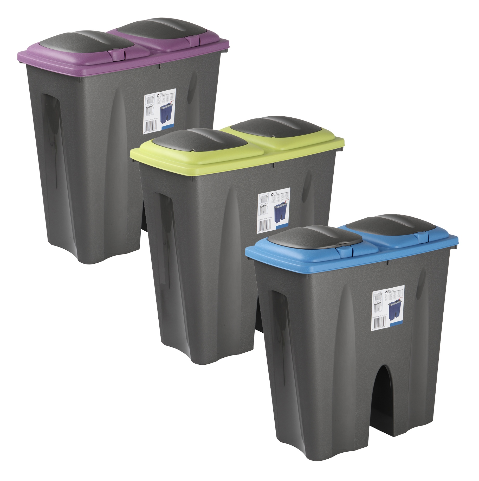 Double Recycling Waste Bin Duo Rubbish Plastic Cardboard Disposal 2 ...