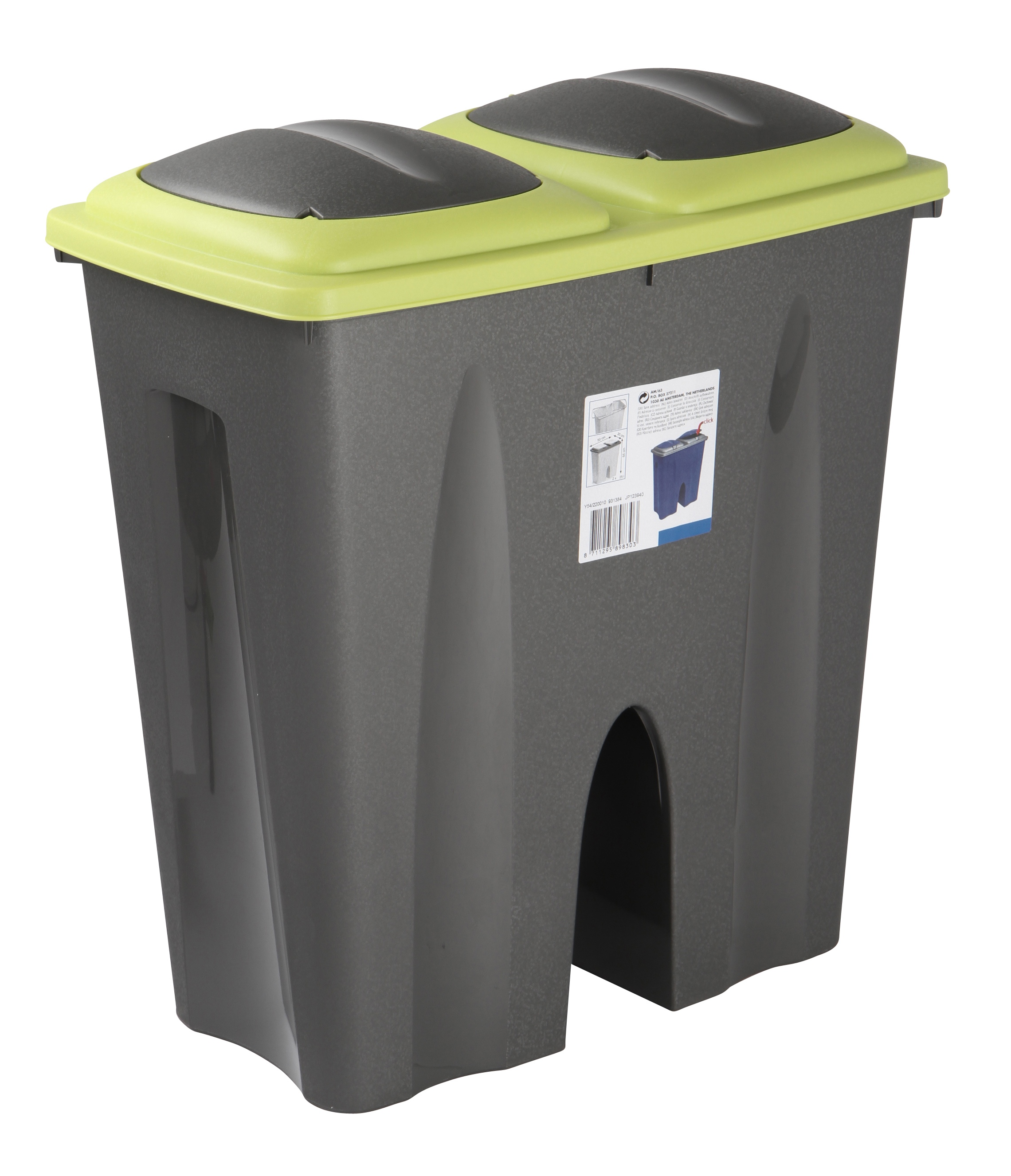 Double Recycling Waste Bin Duo Rubbish Plastic Cardboard Disposal 2 X 25  Litre | EBay