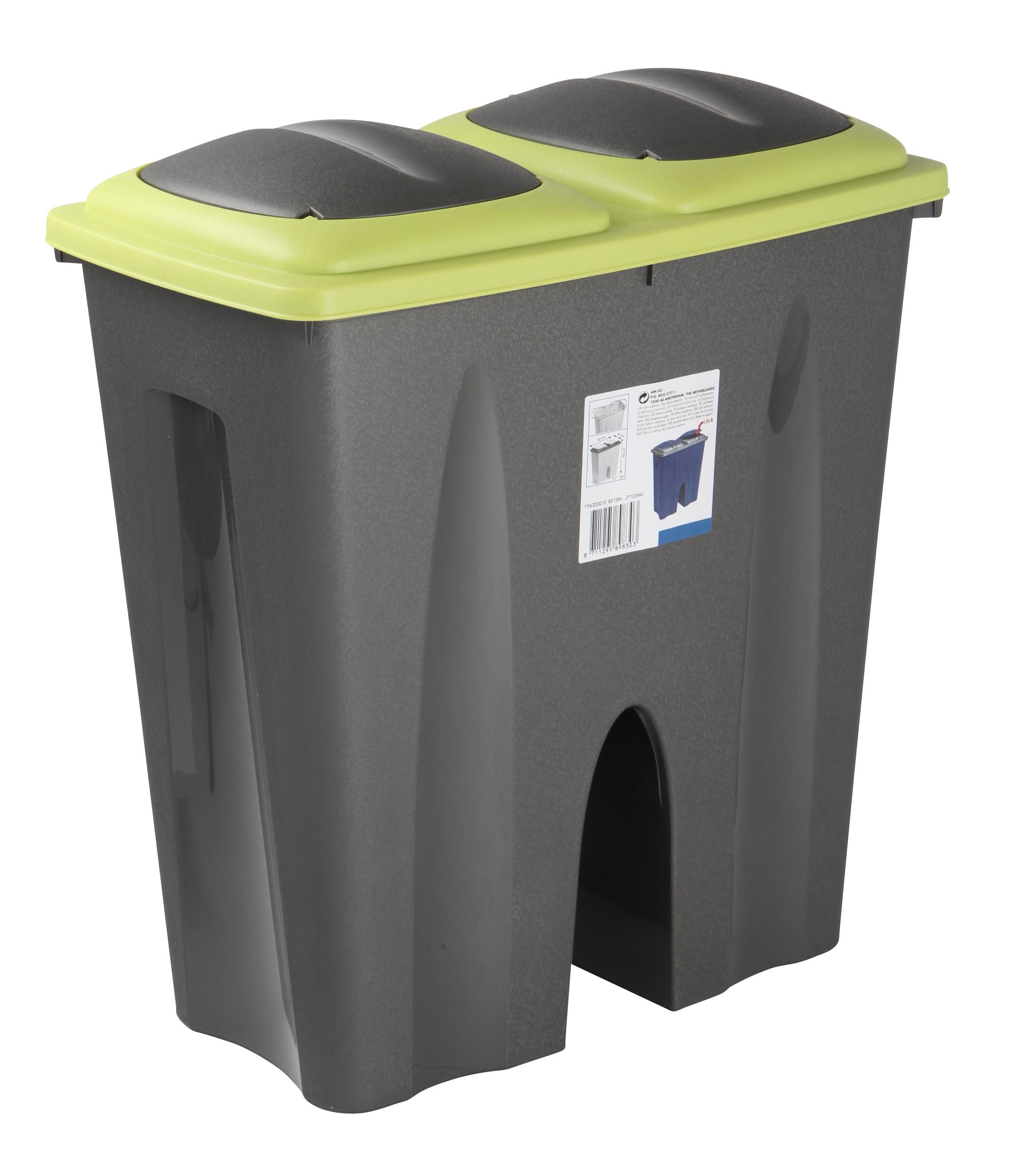 Double Recycling Waste Bin Duo Rubbish Plastic Cardboard Disposal