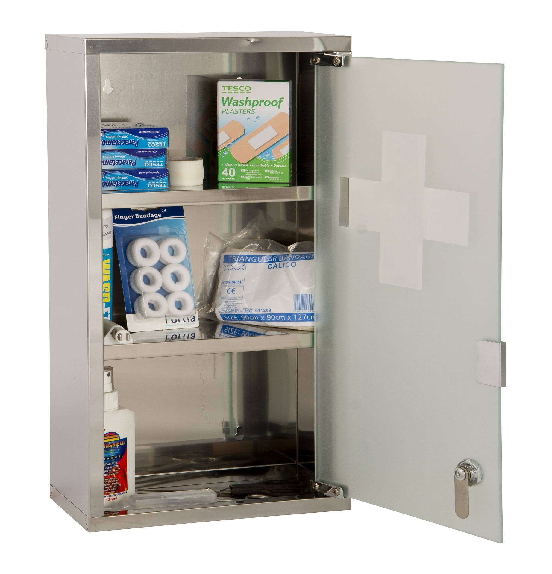 Small Room Box Kit Dhw021: Wall Mounted Lockable 2 Keys Large Medicine Cabinet First