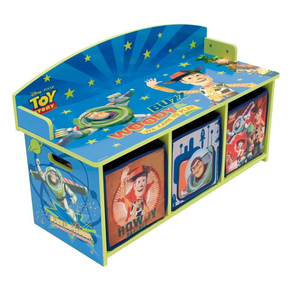 Kids Storage Bench Furniture Toy Box Bedroom Playroom: Toy Story Children's 2 Seat Wooden Bench & Toy Storage