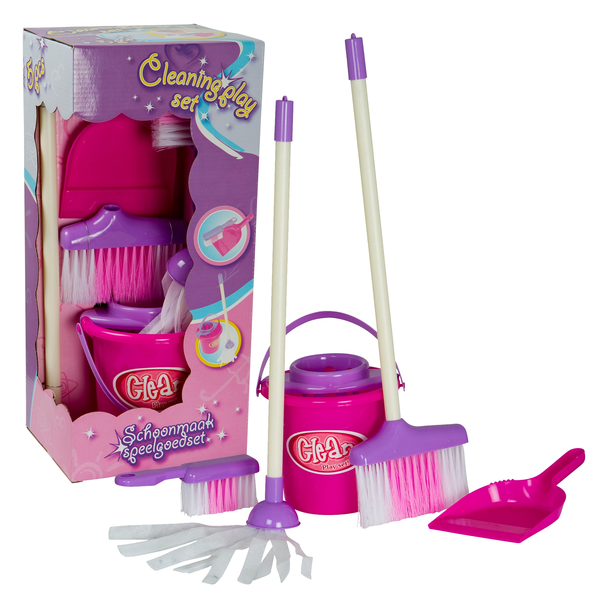 Kids Childrens 5 Piece Cleaning Play Set Mop Amp Bucket