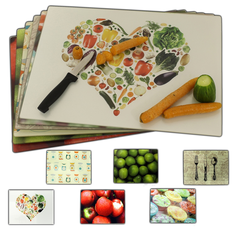 Glass Chopping Cutting Board Worktop Saver Fruit Vegetable Kitchen Food BoardNEW