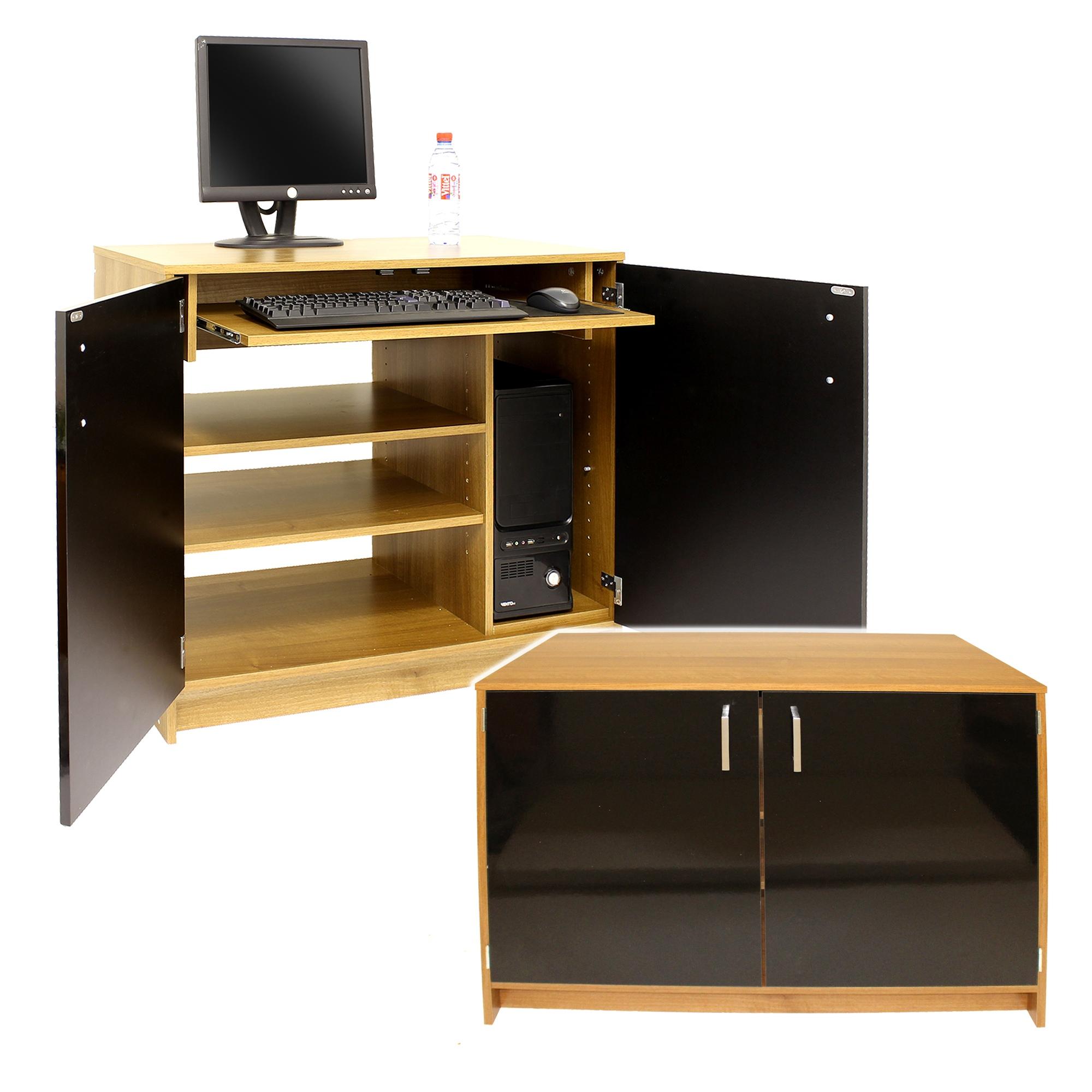 Caspian Sywell Walnut Amp Black Gloss Pc Hideaway Computer