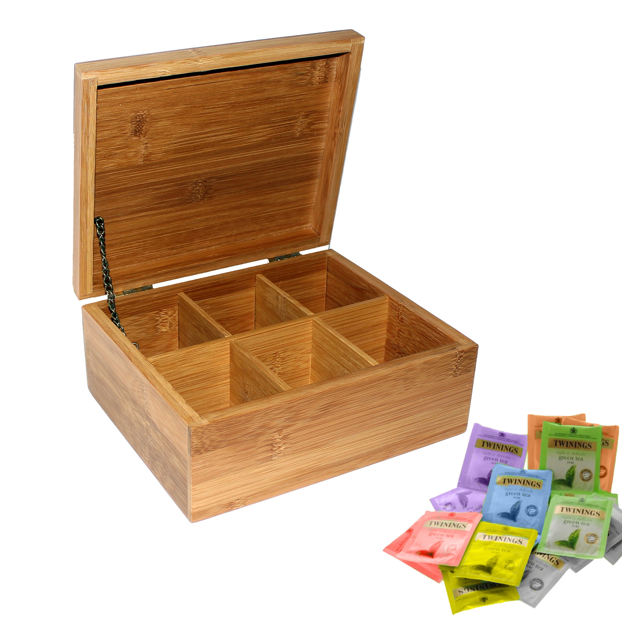Wooden Bamboo Tea Box 6 Sections with Lid Compartments ...