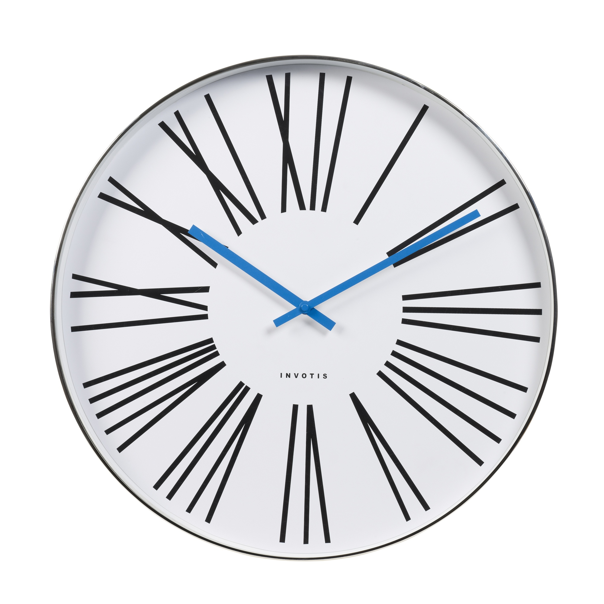 Invotis large 50cm chrome case wall clock roman numerals blue hands modern style ebay - Large roman numeral wall clocks ...