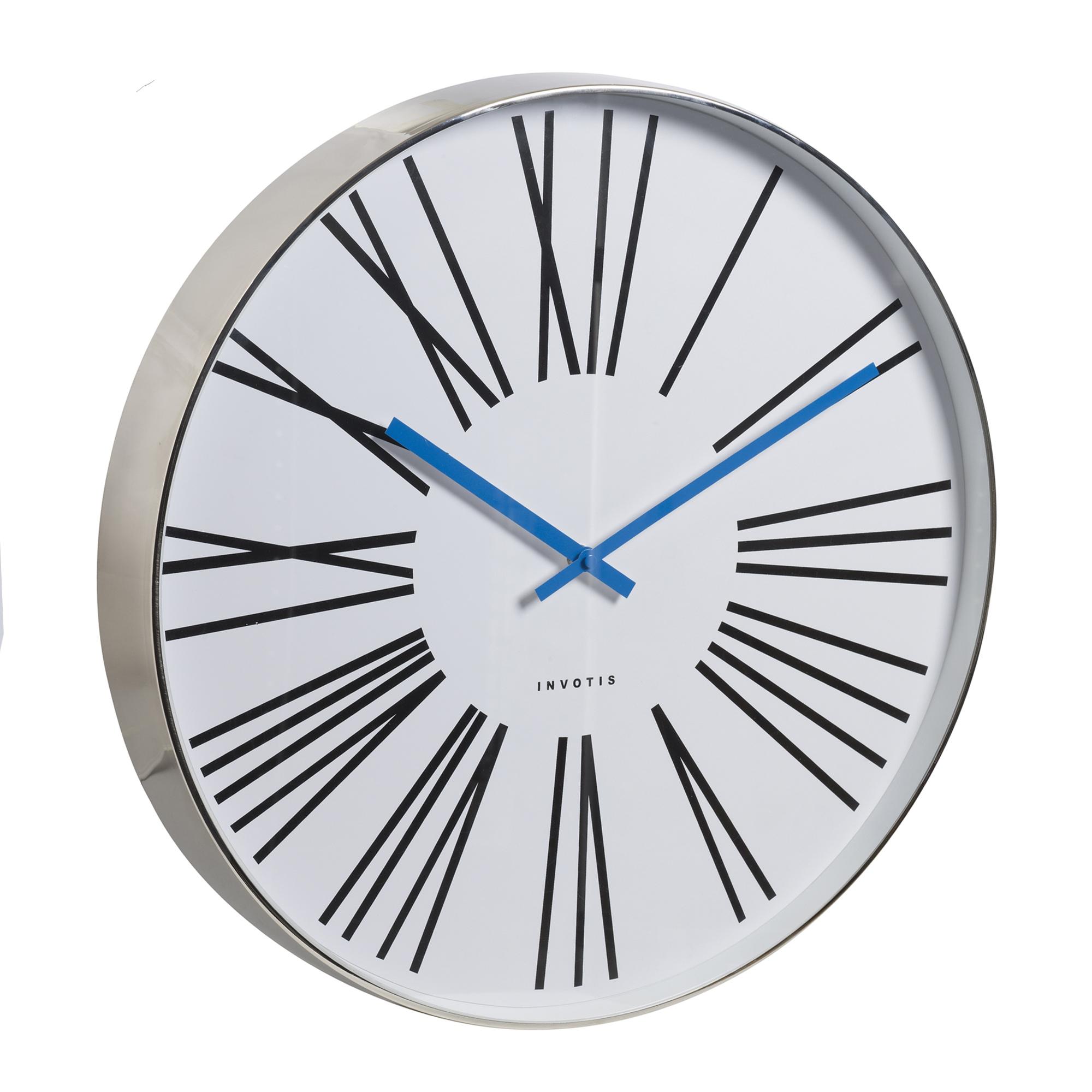 Invotis large 50cm chrome case wall clock roman numerals blue item specifics amipublicfo Gallery
