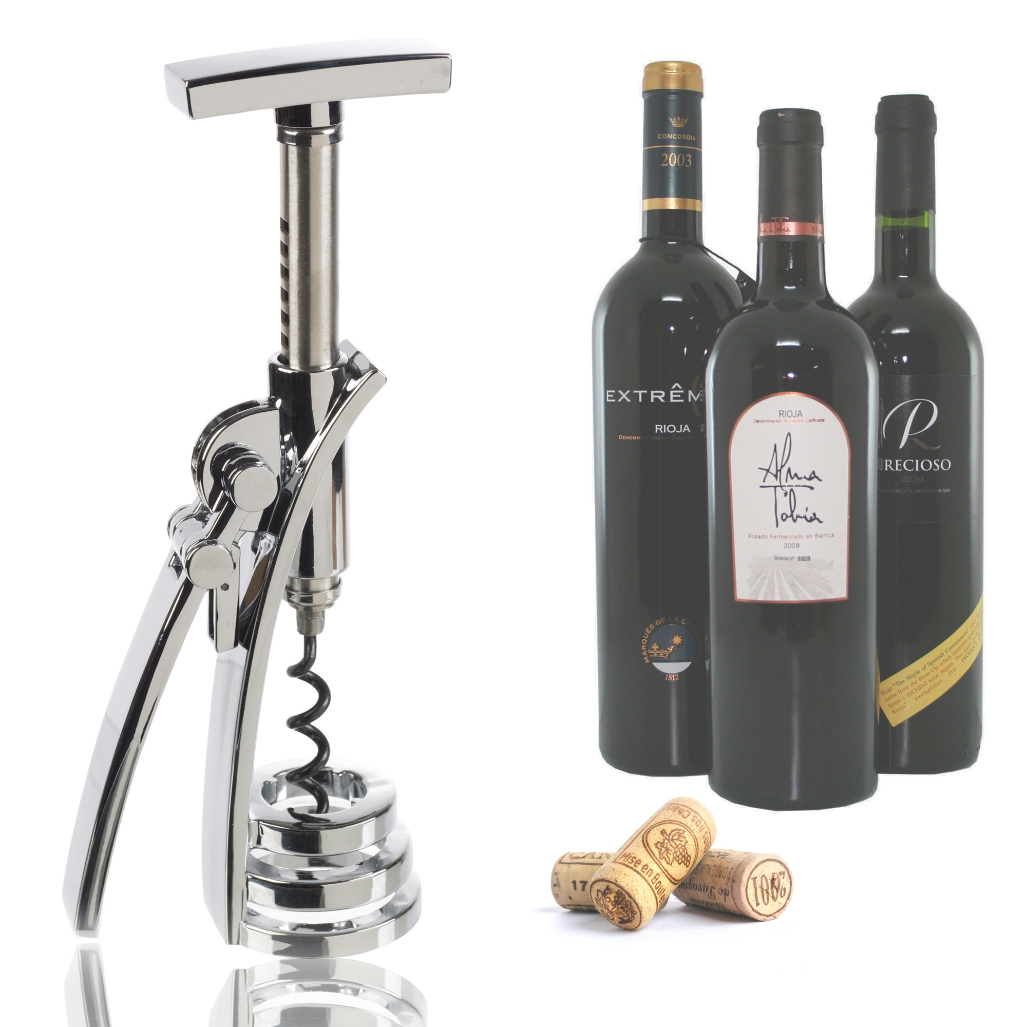 invotis chrome wing corkscrew wine bottle opener winged lever gear mechanism ebay. Black Bedroom Furniture Sets. Home Design Ideas