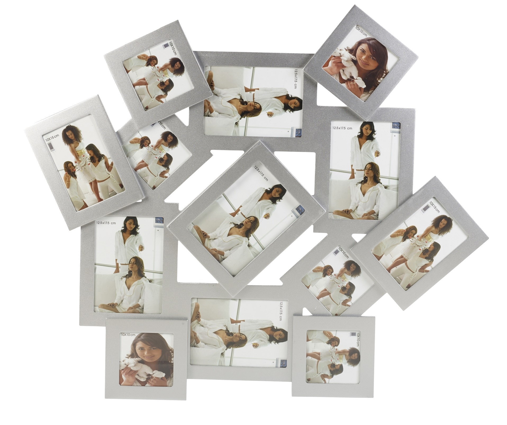 Invotis Large Silver 13 Photo Picture Frame Display Multi
