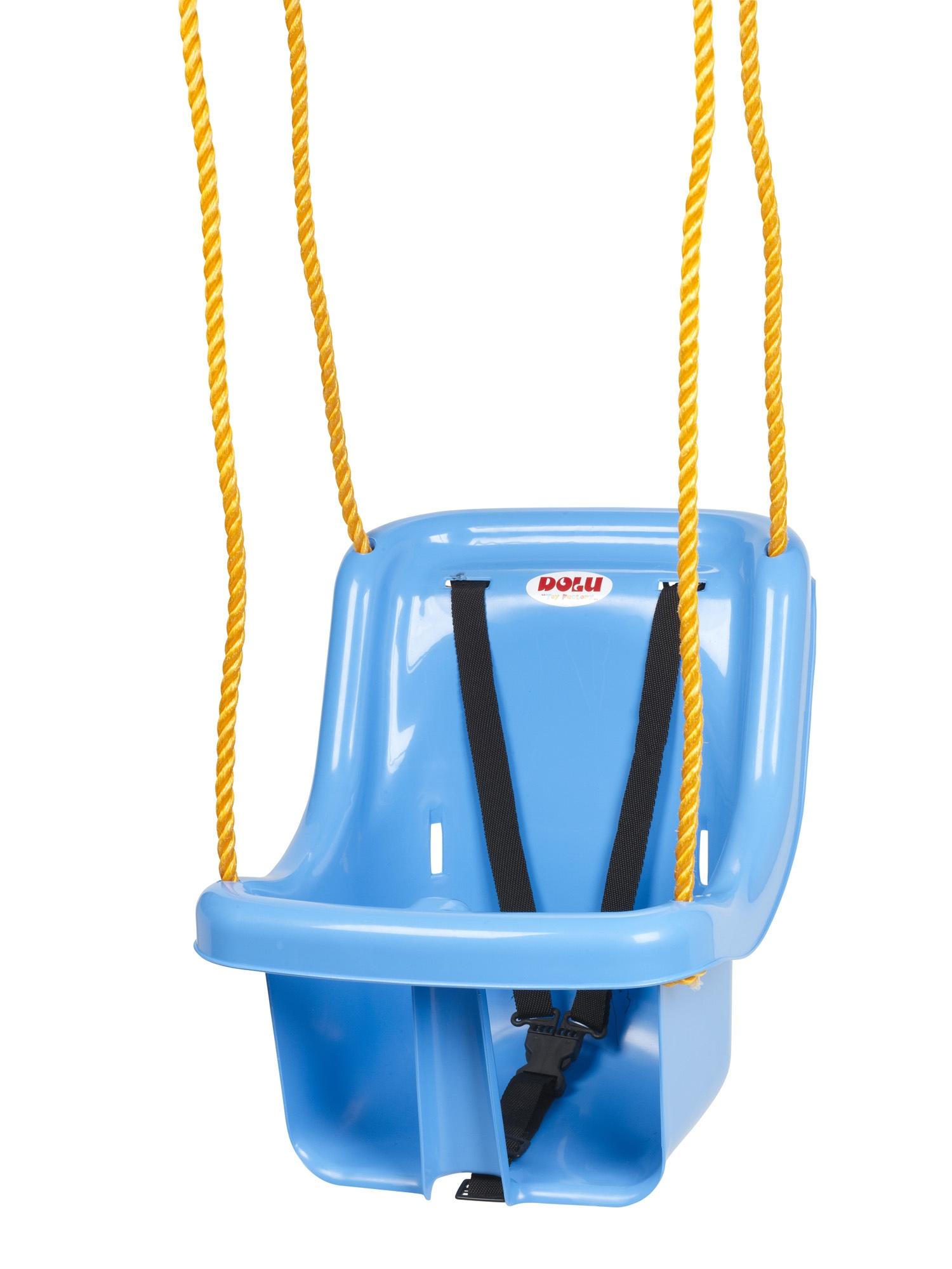 Children outdoor swing seat with safety belt rope garden