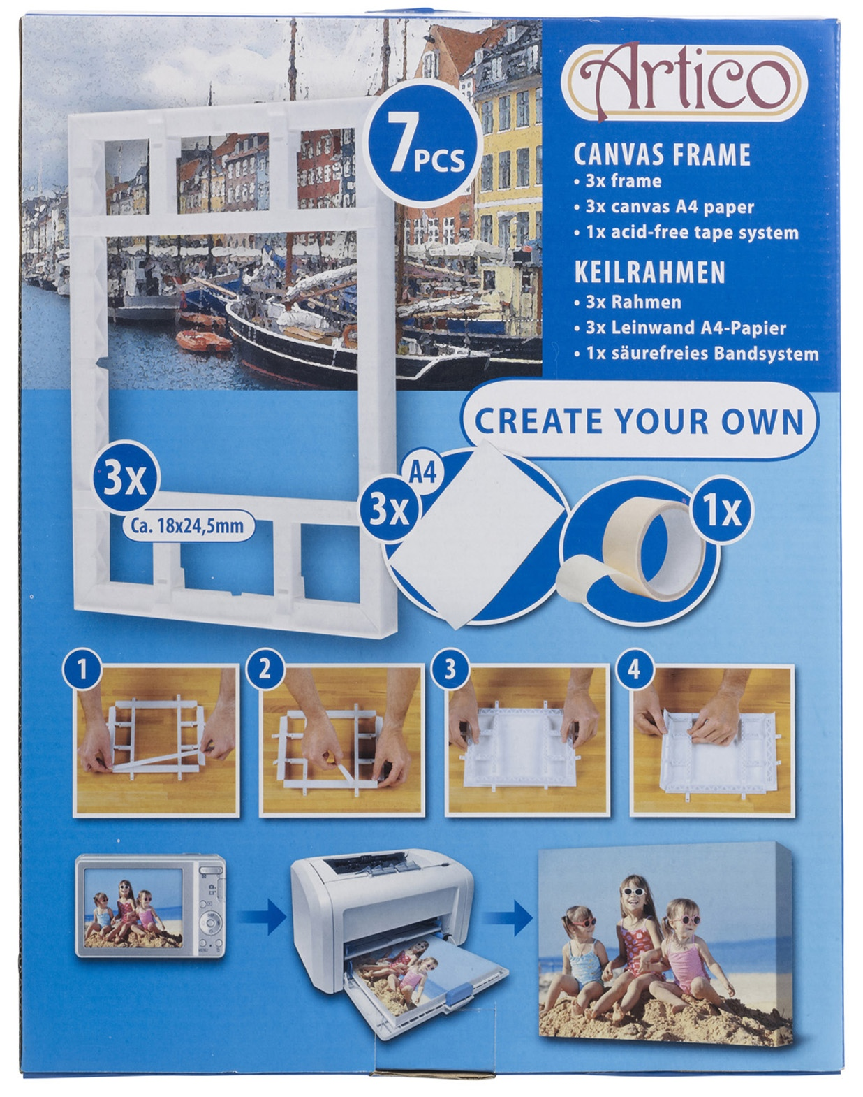 7pcs Create Your Own A4 Diy Wall Canvas Picture Frames Kit