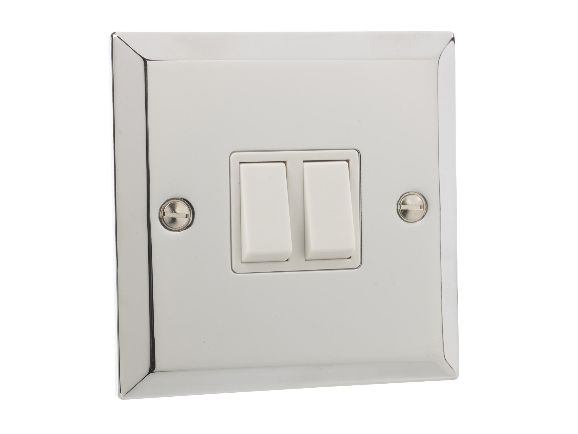 british general chrome 10a double 2 gang 2 way light plate. Black Bedroom Furniture Sets. Home Design Ideas