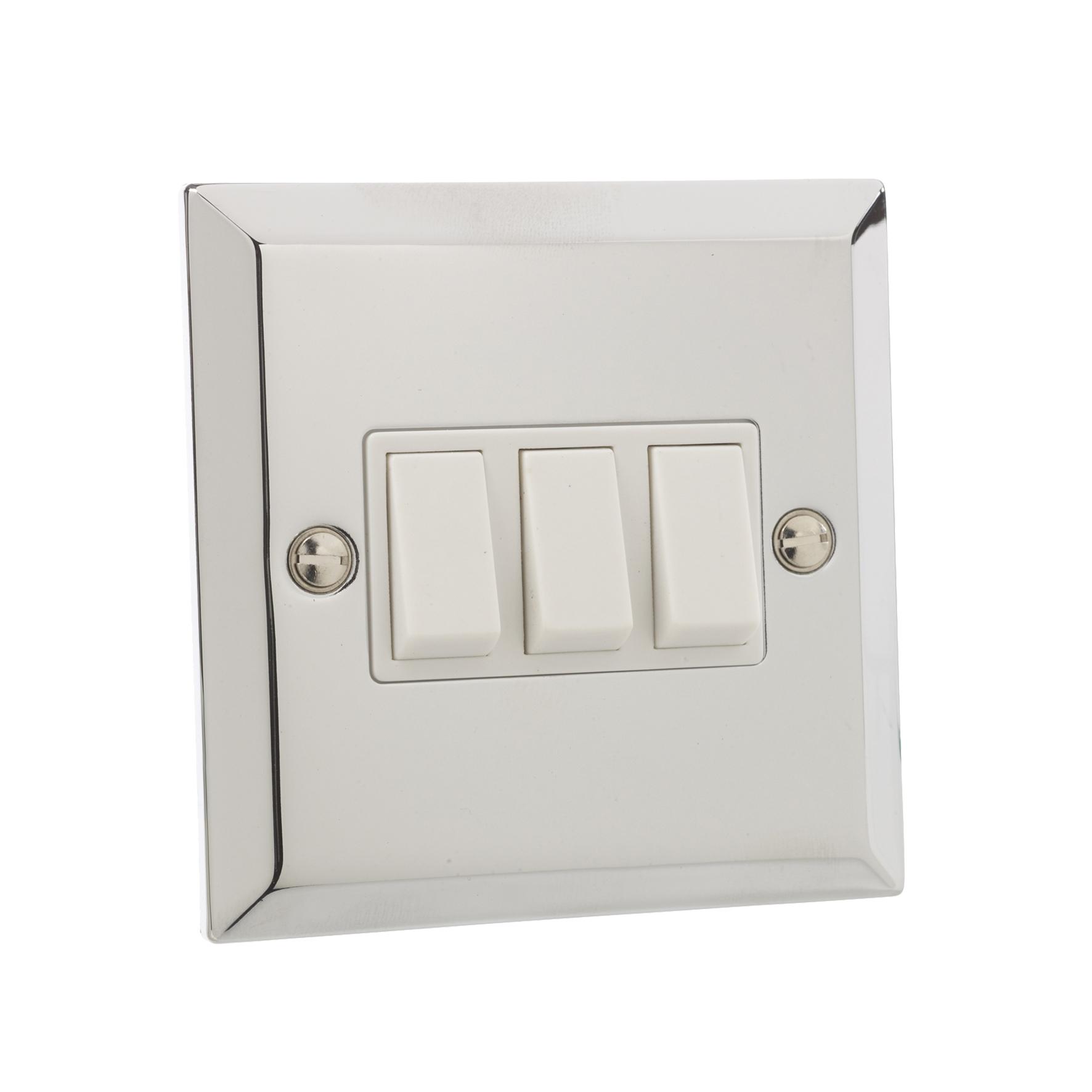 british general chrome 10a triple 3 gang 2 way light plate. Black Bedroom Furniture Sets. Home Design Ideas