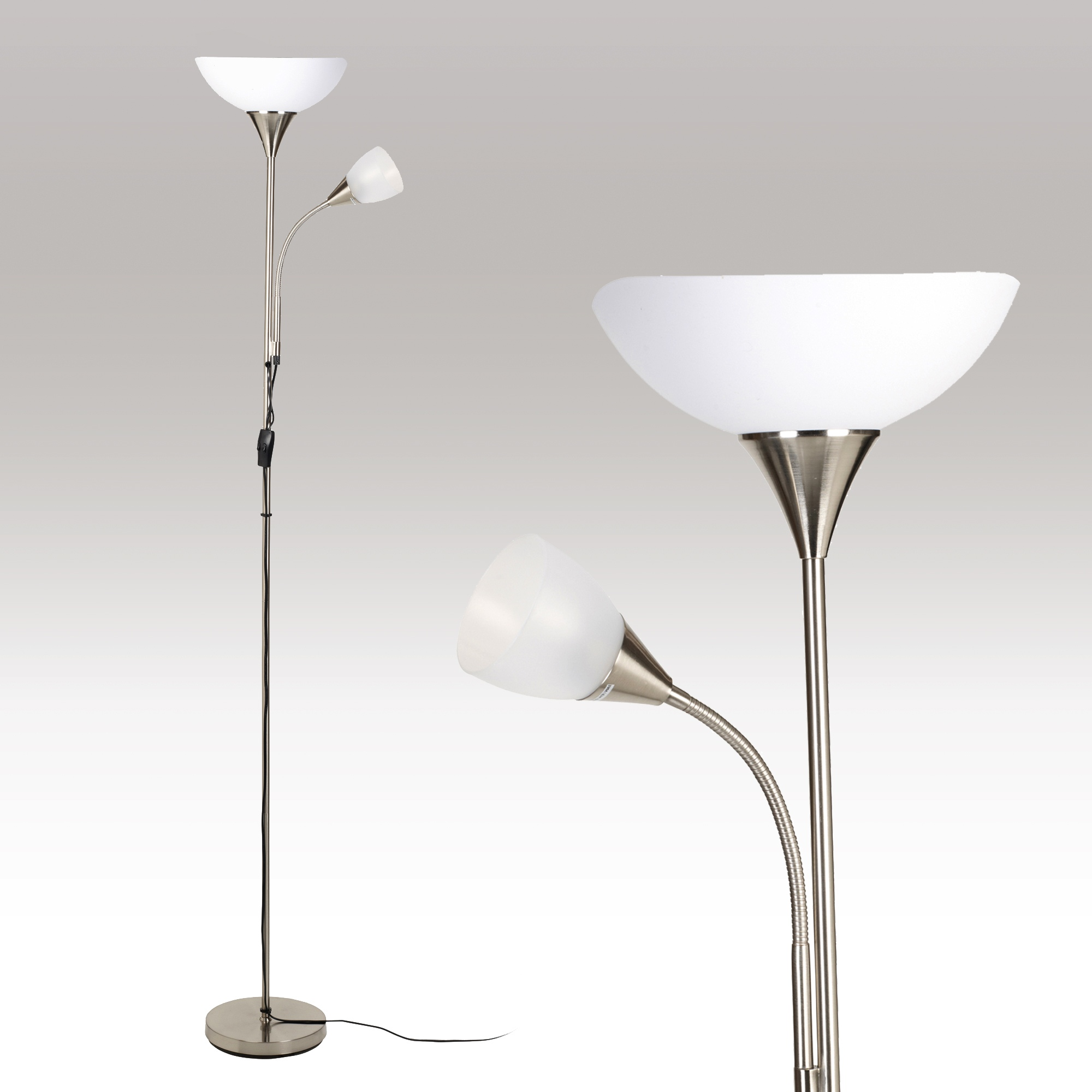 Double floor lamp standing uplighter reading light for Double floor lamp reading