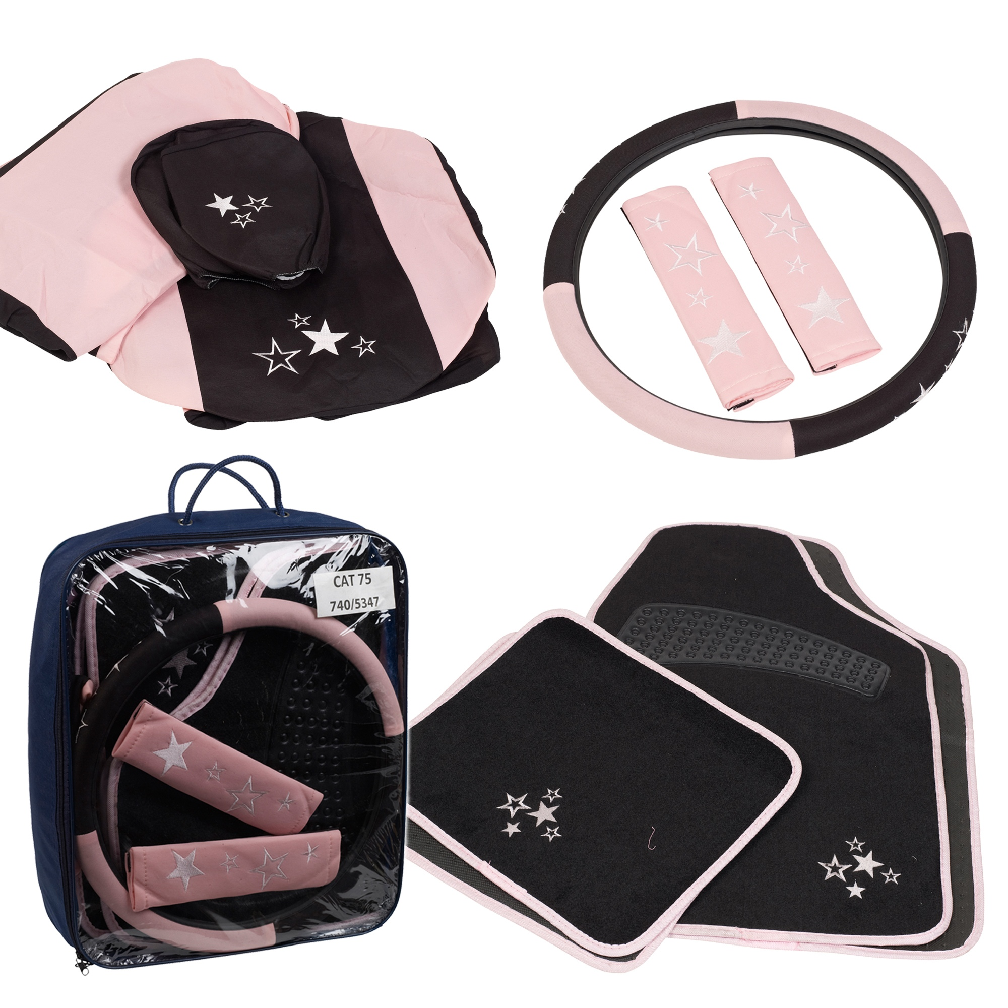 15 Piece Pink Car Seat Covers Protectors And Mats