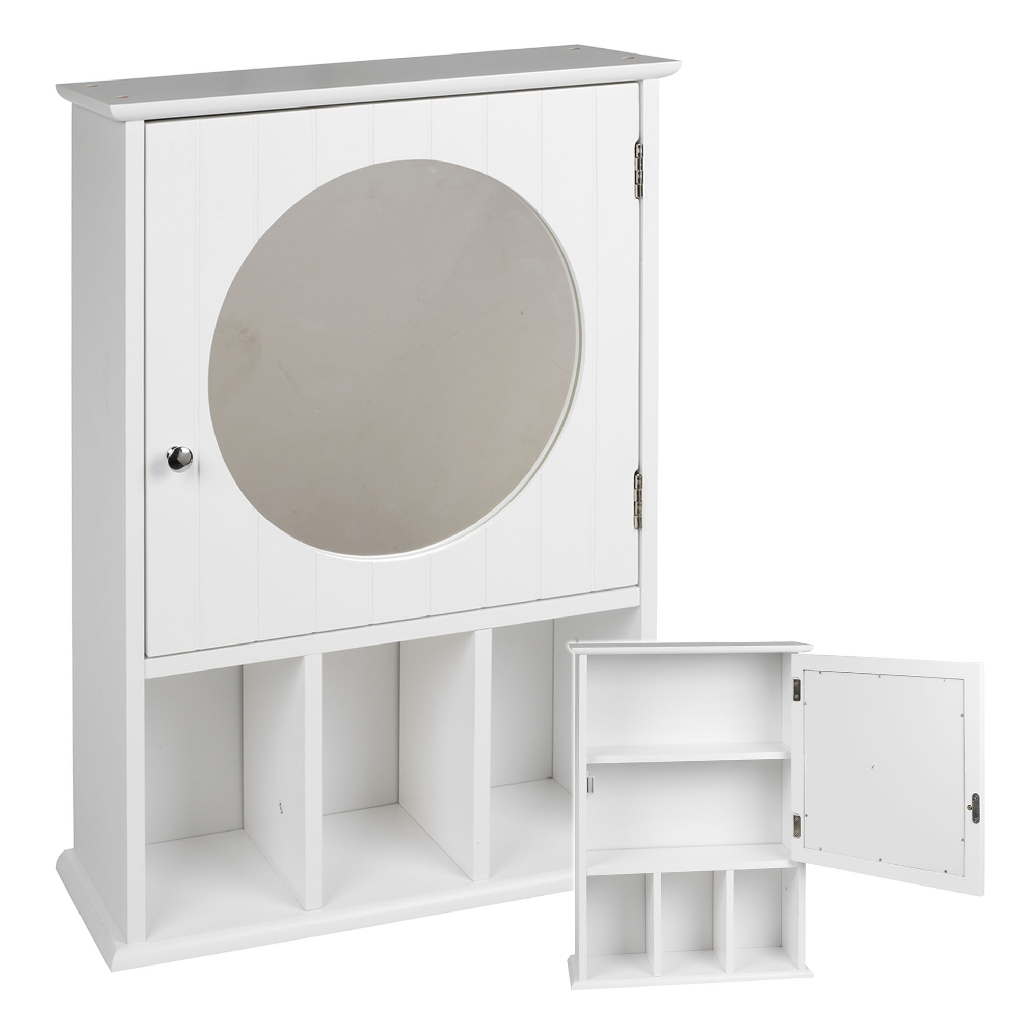 details about white mdf bathroom cabinet mirror wall mounted cupboard