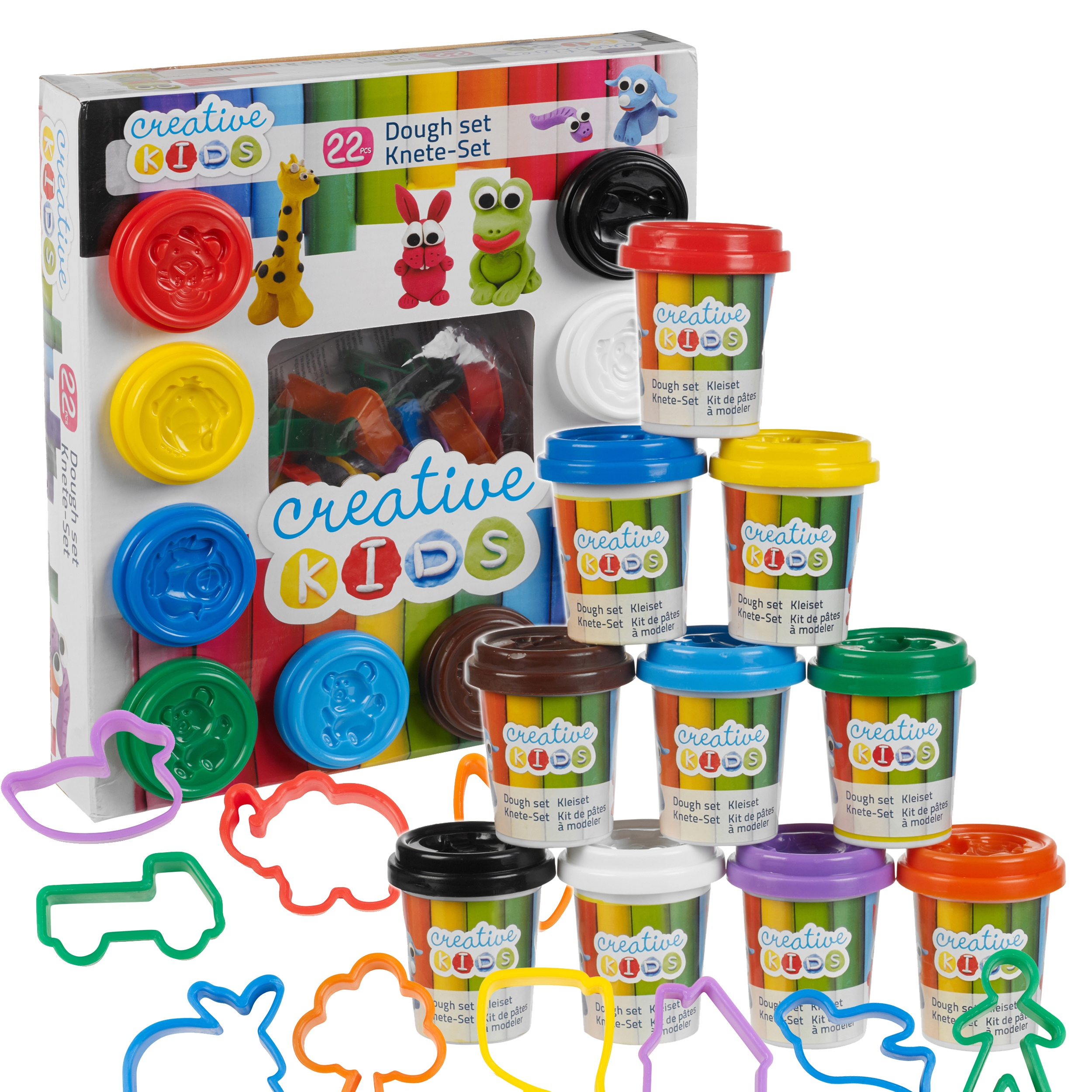 22 Piece Play Dough Craft Gift Set Tubs & Shapes Children Toys