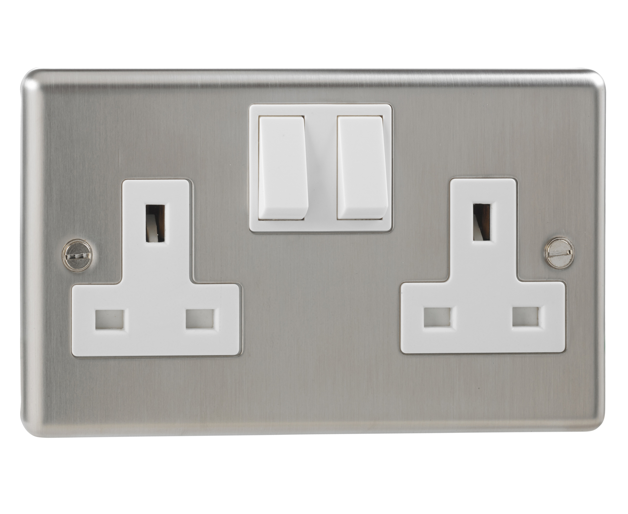 British General Stainless Steel Double Switched 2 Gang Socket Double ...