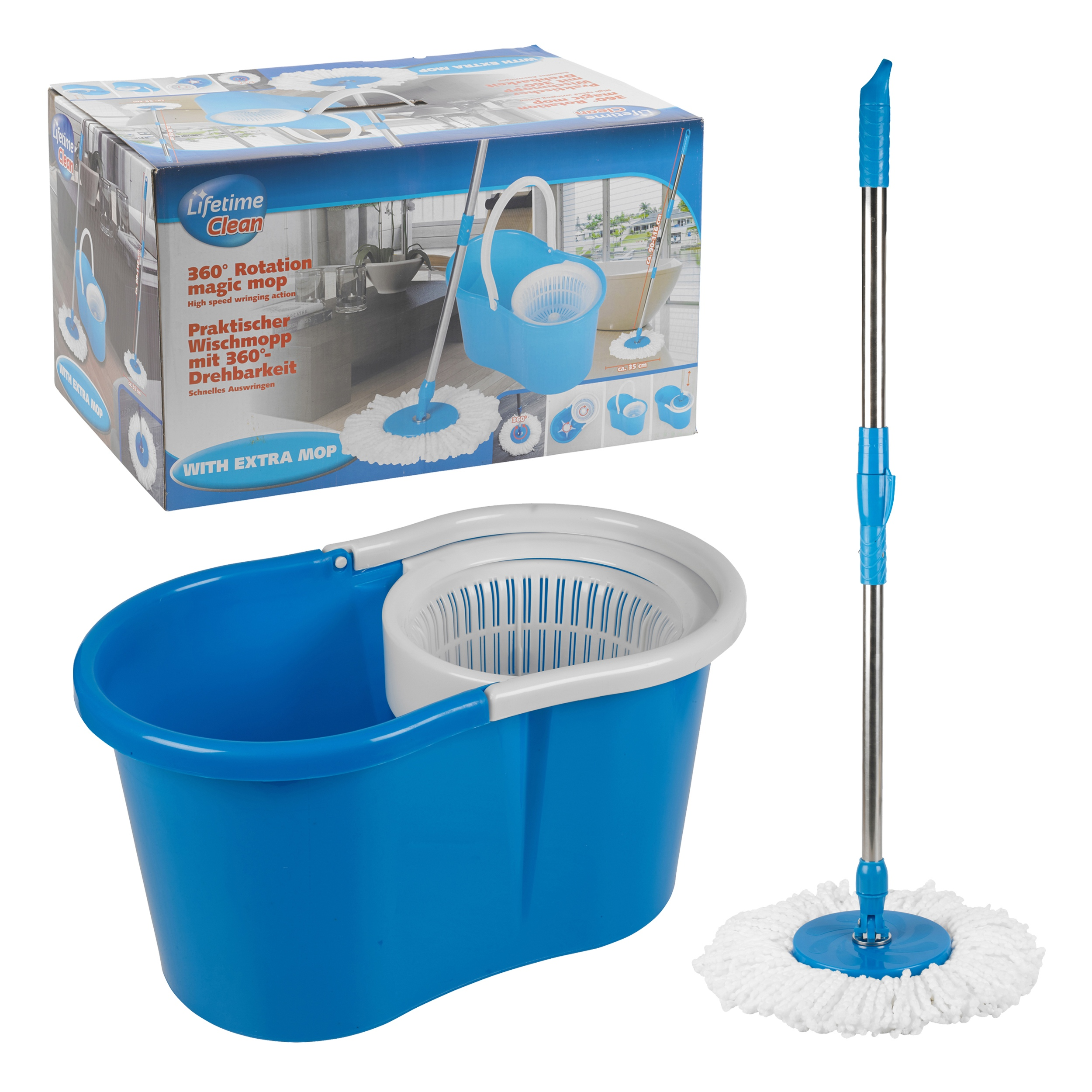 Microfiber 360 spin magic mop with bucket cleaning kit - Balai serpillere twist mop essorage magique ...