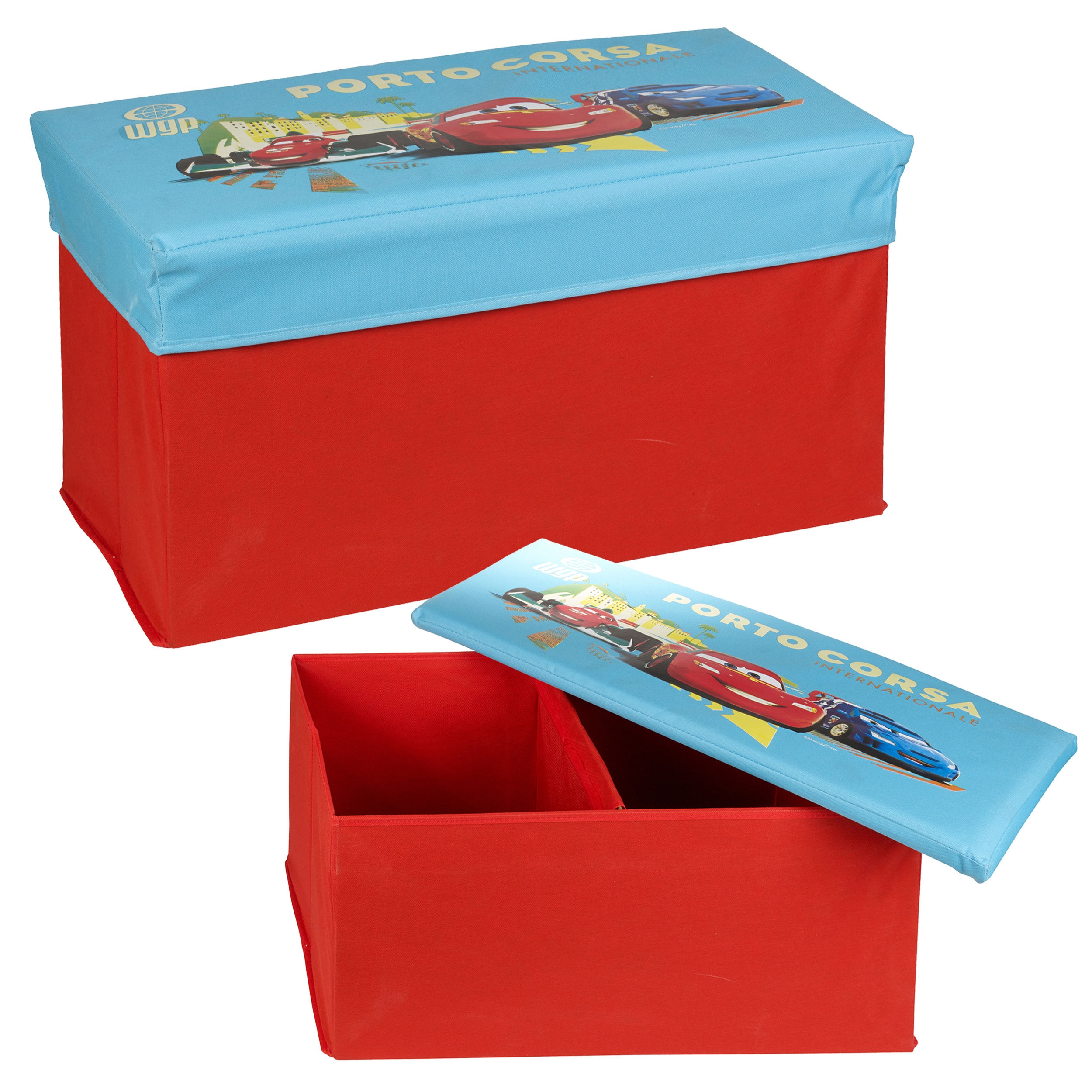 Disney Pixar Cars Lightning Mcqueen Ottoman Kids Storage Bench Stool Chest Lid