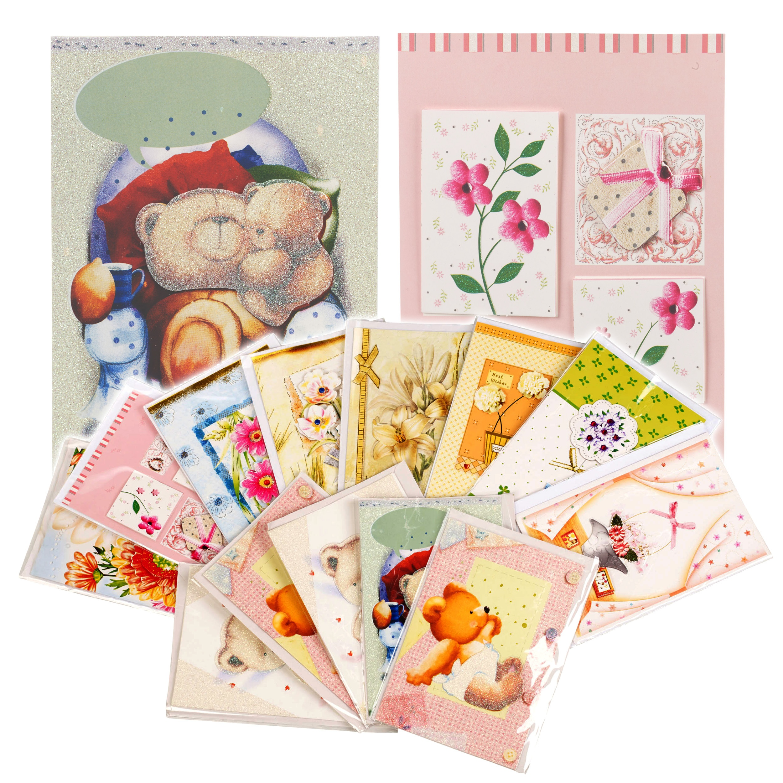 Baby Gift Thank You Card Packs : Assorted d blank greeting cards envelopes birthday