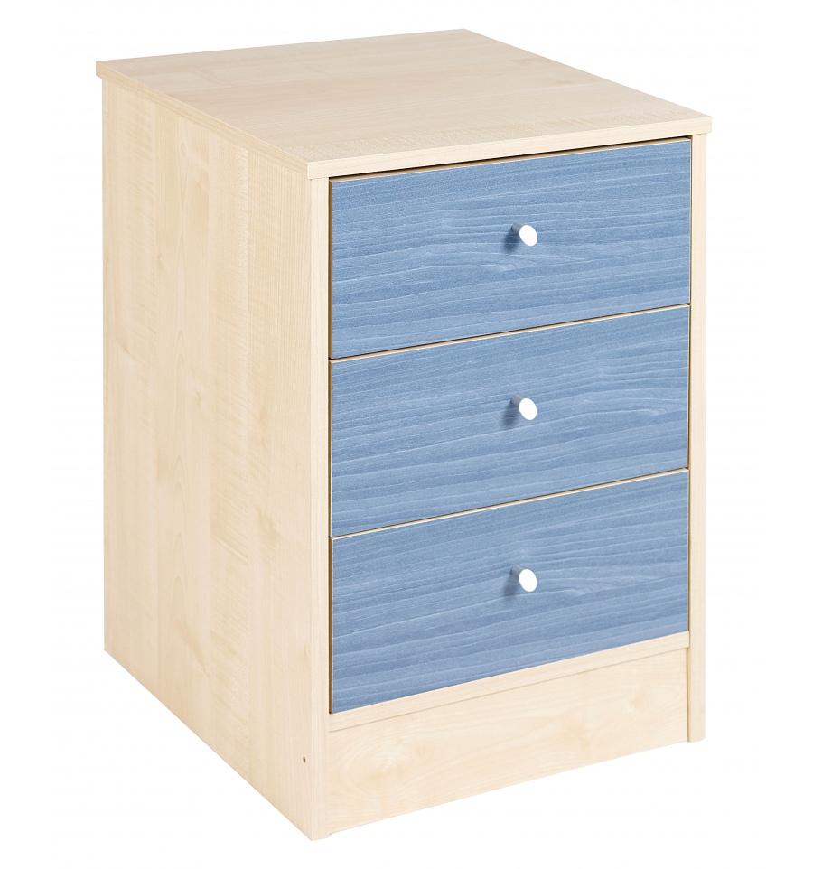 Childrens Animals Storage Box Chest 3 Kids Drawer Bedroom: Malibu Blue Bedside Chest 3 Drawer [719/1709]