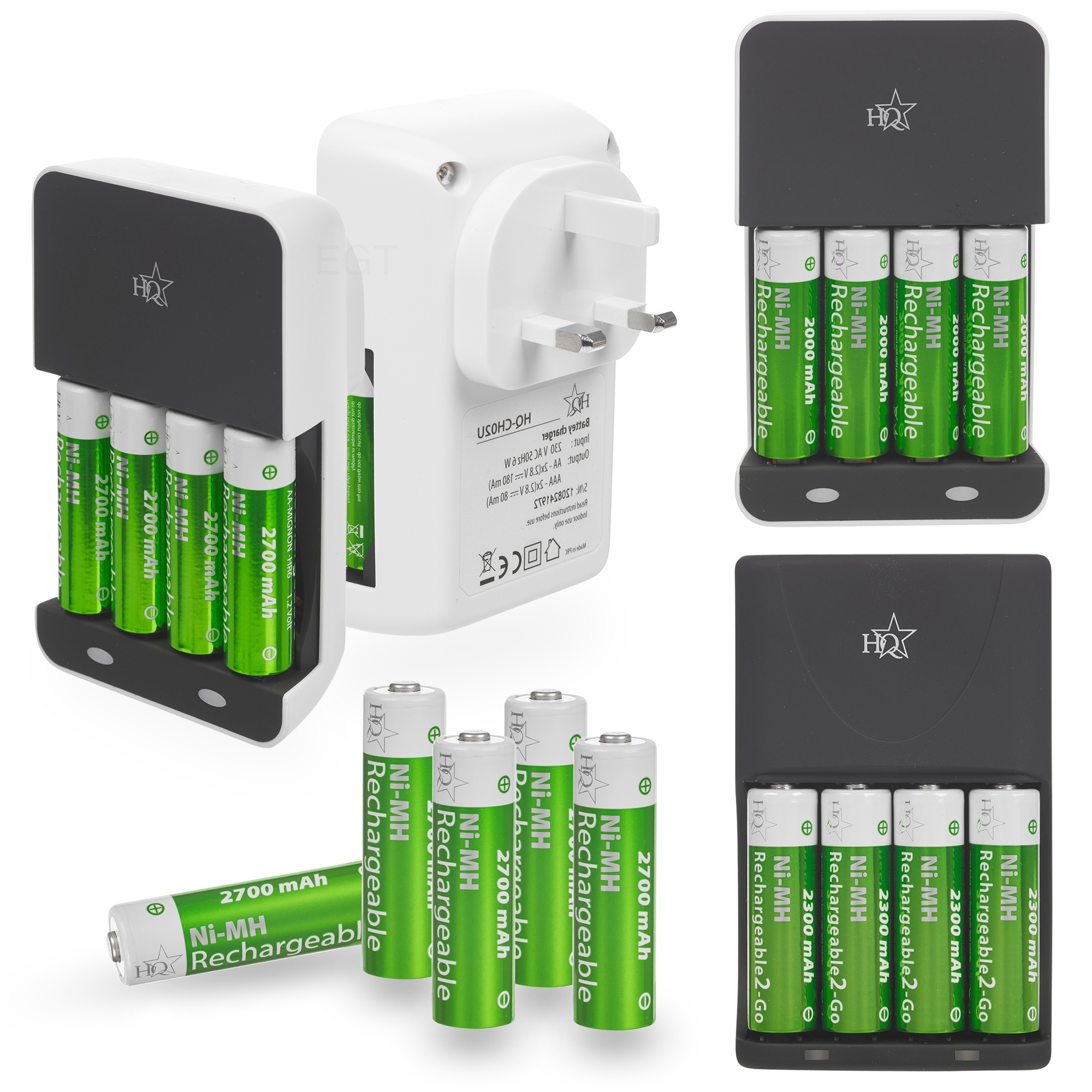 hq aa aaa battery charger 4 x high power rechargeable batteries 2000 2700mah ebay. Black Bedroom Furniture Sets. Home Design Ideas