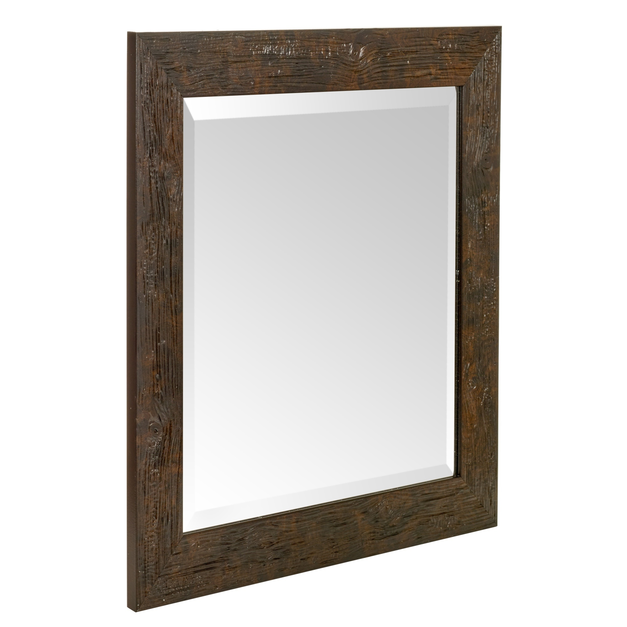 large wall glass square mirror 50 x 50 cm mountable wood