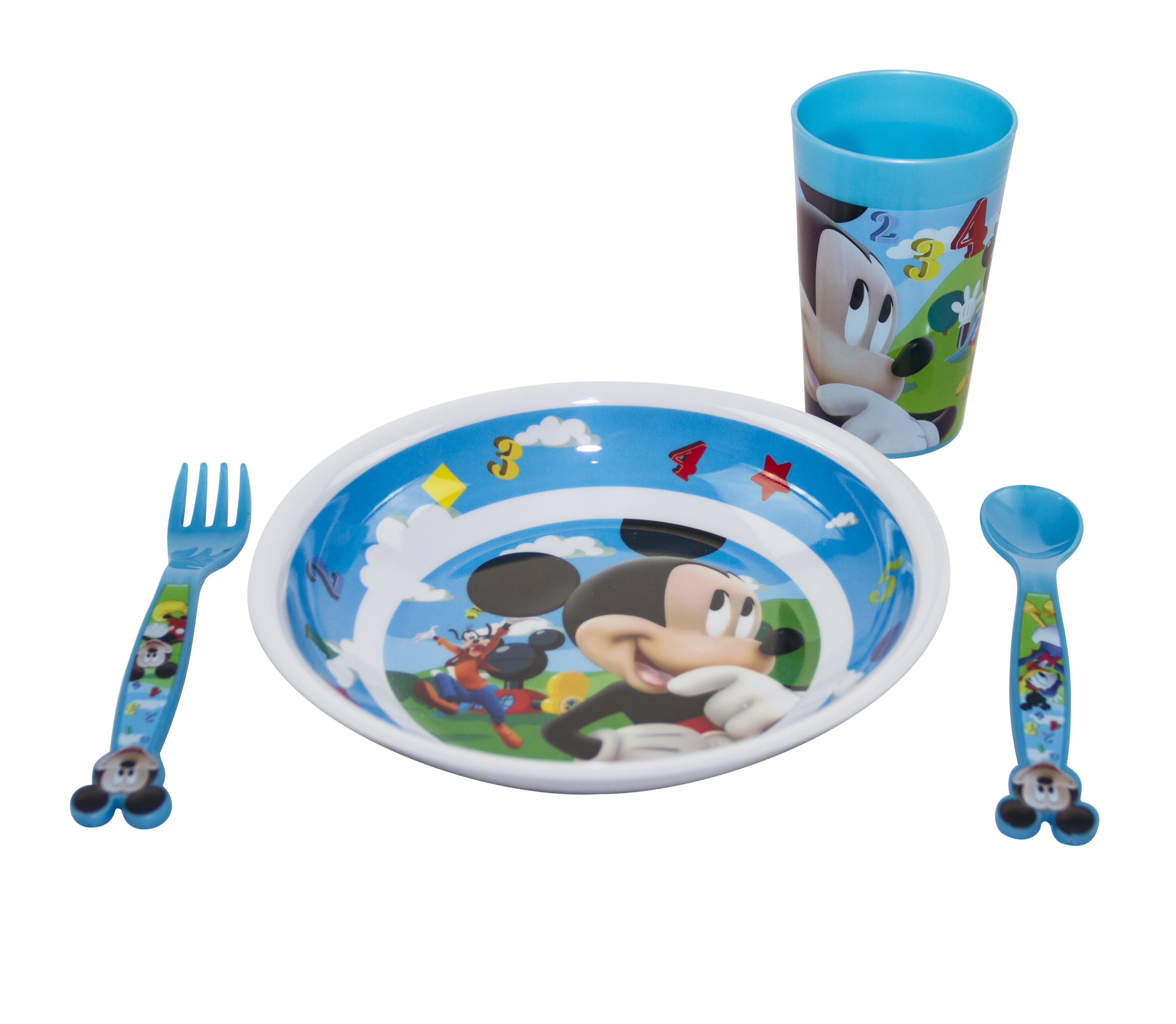 Kids 4pcs Breakfast Dinner Set Disney Spoon Cups Cutlery